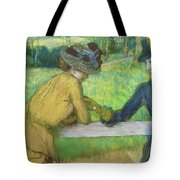 Two Women Leaning On A Gate Tote Bag by Edgar Degas