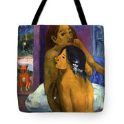 Two Women With Flowered Hair Tote Bag