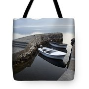 Two Wooden Boats In A Little Bay In The Morning Tote Bag