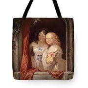 Two Young Ladies At The Window Tote Bag