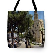 Two Young Women In Flamenco Dresses Walking Along Christopher Co Tote Bag