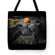 Two Zebras And Macaw Tote Bag