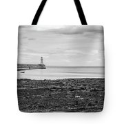 Tynemouth Pier Landscape In Monochrome Tote Bag