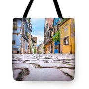 half-timbered houses, Riquewihr, Alsace, France   Tote Bag