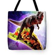 Tyrannosaurus Rex Dinosaur Riding Taco In Space Tote Bag