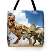 Tyrannosaurus Rex Fighting With Two Tote Bag by Mohamad Haghani