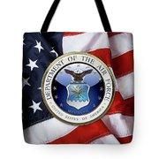 U. S.  Air Force  -  U S A F Emblem Over American Flag Tote Bag
