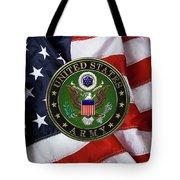 U. S. Army Emblem Over American Flag. Tote Bag