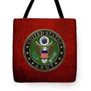 U. S.  Army Emblem Over Red Velvet Tote Bag