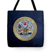 U. S. Army Seal Over Blue Velvet Tote Bag