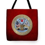U. S. Army Seal Over Red Velvet Tote Bag