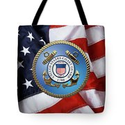 U. S. Coast Guard - U S C G Emblem Over American Flag Tote Bag