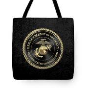 U S M C Emblem Black Edition Over Black Velvet Tote Bag