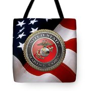 U S M C Emblem Over American Flag Tote Bag