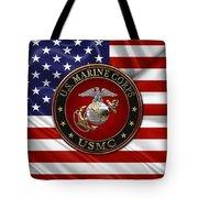 U. S.  Marine Corps - C O And Warrant Officer E G A Special Edition Over U. S.  Flag Tote Bag