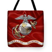 U. S.  Marine Corps - C O And Warrant Officer Eagle Globe And Anchor Over Corps Flag Tote Bag