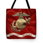 U. S.  Marine Corps - N C O Eagle Globe And Anchor Over Corps Flag Tote Bag
