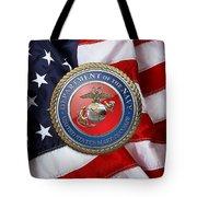 U. S. Marine Corps - U S M C Seal Over American Flag. Tote Bag