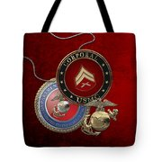 U. S.  Marines Corporal Rank Insignia Over Red Velvet Tote Bag