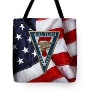 U. S. Navy S E A Ls - S E A L Team Seven  -  S T 7  Patch Over U. S. Flag Tote Bag