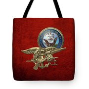 U. S. Navy S E A Ls Trident Over Red Velvet Tote Bag