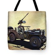 U. S.rmy Jeep With Assualt Weapons Tote Bag