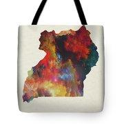 Uganda Watercolor Map Tote Bag