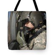 Uh-60 Black Hawk Crew Chief Looking Tote Bag