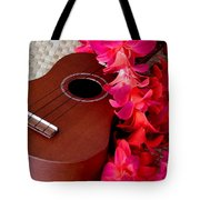 Ukulele And Red Flower Lei Tote Bag