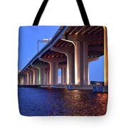 Under The Bridge With Lights 01175 Tote Bag