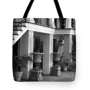 Under The Steps In Savannah - Black And White Tote Bag