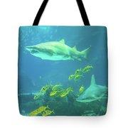 Underwater Shark Background Tote Bag