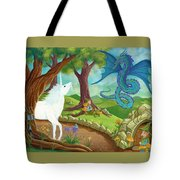 Unicorn And Dragon And Fairies And Elves - Illustration #9 In The Infinite Song Tote Bag