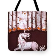 Unicorn Below Trees In Autumn Tote Bag by Carol  Law Conklin