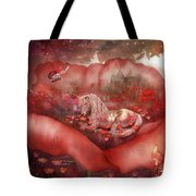 Unicorn Of The Poppies Tote Bag