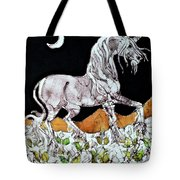 Unicorn Over Flower Field Tote Bag by Carol  Law Conklin