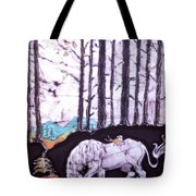 Unicorn Rests In The Forest With Fox And Bird Tote Bag