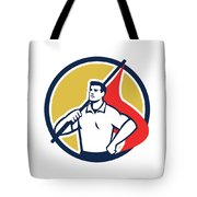 Union Worker Holding Flag Circle Retro Tote Bag