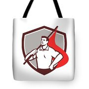 Union Worker Holding Flag Crest Retro Tote Bag