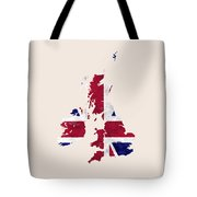 United Kingdom Map Art With Flag Design Tote Bag