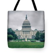 United States Capitol Building On A Foggy Day Tote Bag