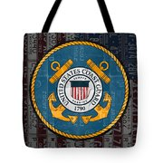 United States Coast Guard Logo Recycled Vintage License Plate Art Tote Bag