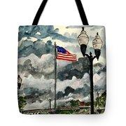 United States Flag Over Alabama Tote Bag