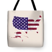 United States Map Art With Flag Design Tote Bag