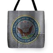 United States Navy Logo On Riveted Steel Boat Side Tote Bag