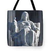 United States Supreme Court, The Contemplation Of Justice Statue, Washington, Dc 3 Tote Bag
