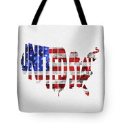 United States Typographic Map Flag Tote Bag