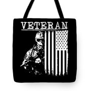 United States Veteran Flag And Soldier Tote Bag