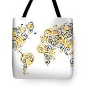 University Of California Berkeley Colors Swirl Map Of The World  Tote Bag