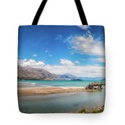 Unspoiled Alpine Scenery In Kinloch Wharf, New Zealand Tote Bag